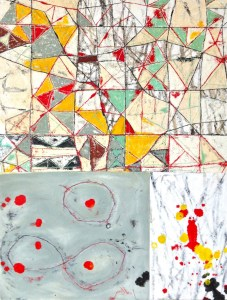 """A portion of """"In It Together,"""" oil and oil stick on canvas, 2013, 46 inches by 54 inches."""