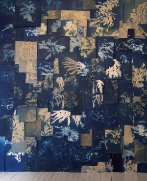 Installation View of Heavy the Sea (for Anna), 3x4m Cyanotype collage. Courtesy of the artist and Transformer Station.