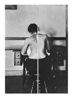 Lisa Oppenheim, Mildred Benjamin, 17 years old. Right dorsal curvature. Scoliosis. Right shoulder higher than left. Shows incorrect position required to perform this kind of work, 2016, dye sublimation print on aluminum, 56 1/8 x 20 3/8 inches (left panel); 56 1/8 x 18 1/2 inches (right panel); 56 1/8 x 38 7/8 inches (overall). Courtesy of the artist and Tanya Bonakdar Gallery, New York.