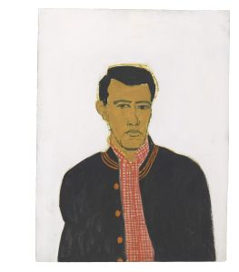 """Track Jacket,"" 1956. Alex Katz (American, b. 1927). Oil on Masonite; 60.9 x 45.7 cm. Colby College Museum of Art, Promised gift of the artist, 019.2004. Art © Alex Katz / Licensed by VAGA, New York, NY."