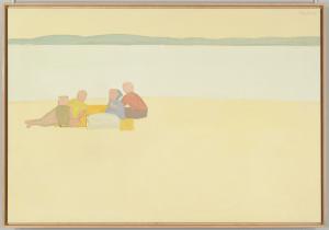 """Lincolnville Beach,"" 1956. Alex Katz (American, b. 1927). Oil on canvas; 122.4 x 178.6 cm. Whitney Museum of American Art. Art © Alex Katz / Licensed by VAGA, New York, NY."