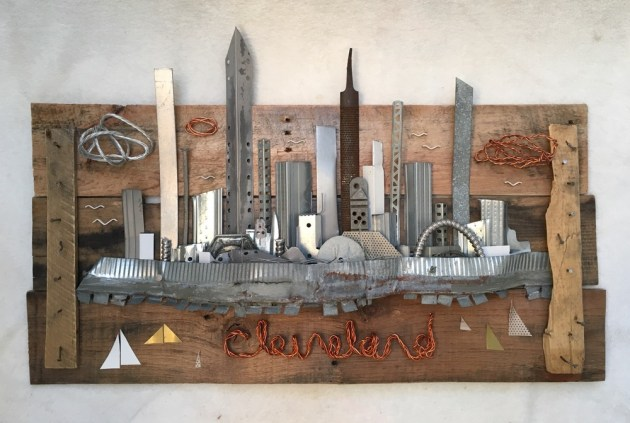 Cleveland skyline by Russ Brunn, created using repurposed scrap metal. Photo submitted by Howard Alan Events