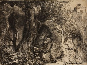 """""""St. Francis Beneath a Tree Praying"""" by Rembrandt Harmenszoon van Rijn, 1657; drypoint and etching on oatmeal paper. Image courtesy of the Allen Memorial Art Museum."""
