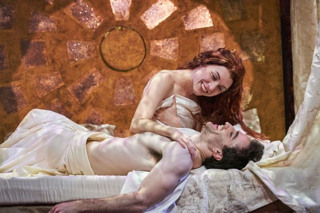 """Marina Shay as Viola de Lesseps and Charlie Thurston as Will Shakespeare in """"Shakespeare in Love"""" at the Cleveland Play House. Photo / Roger Mastroianni"""
