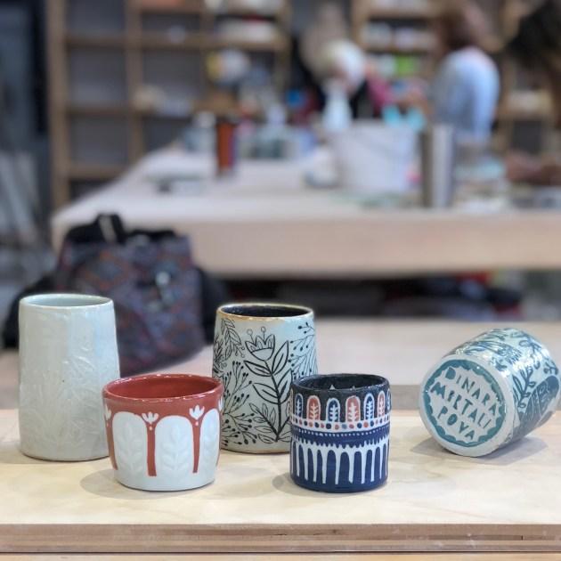 A sample of works made  at BRICK Ceramic + Design Studio.