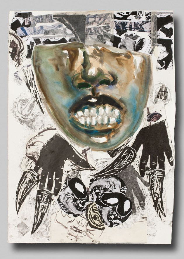 """""""White Light/Black Face"""" by Dexter Davis (2010); collage, watercolor and found paper, 30 x 21 inches."""