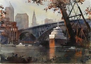 """""""Freighter Bridge, Cleveland Skyline"""" by Michael Prunty; watercolor on paper, 18 x 27 inches."""