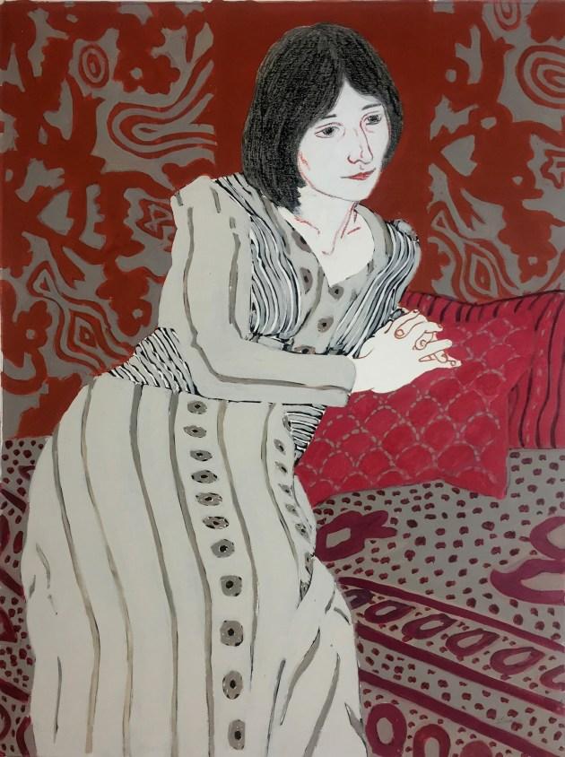 """Woman In Gray"" by Phyllis Sloane (c. 1980s); gouache on paper, 23¾ x 17½ inches. Rachel Davis Fine Arts."
