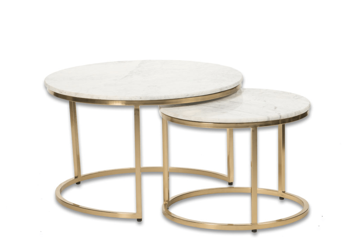 a 08 round marble nesting coffee table
