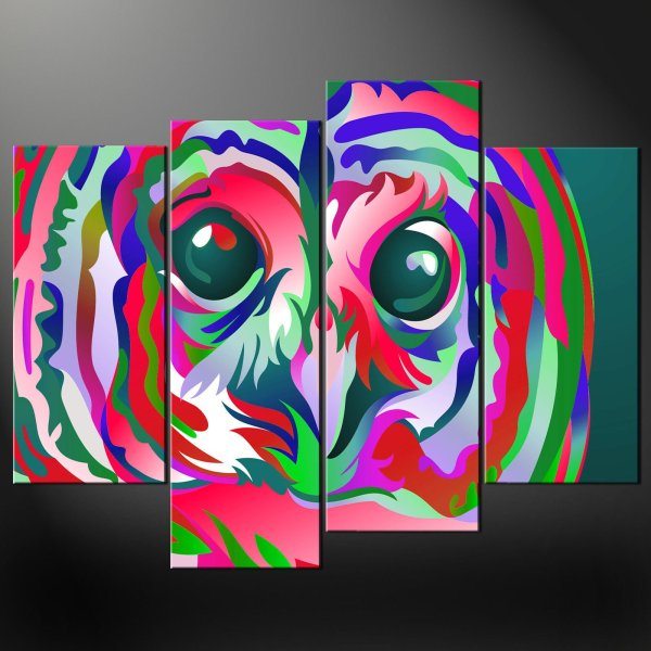 Abstract Owl Split Canvas Wall Art Prints Larger