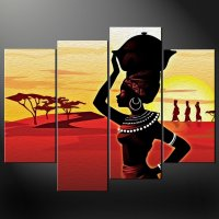 AFRICAN LADY SUNSET SPLIT CANVAS WALL ART PICTURES PRINTS