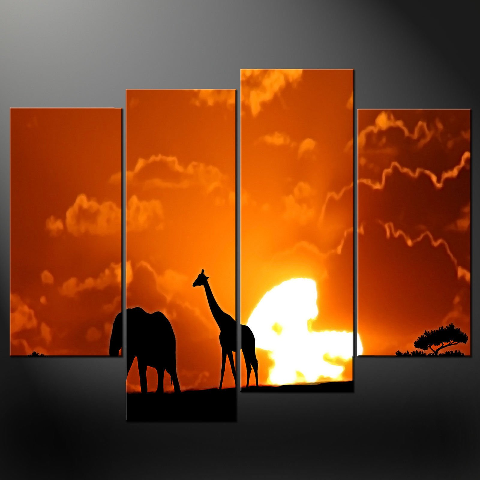 AFRICAN SUNSET SPLIT CANVAS WALL ART PICTURES PRINTS