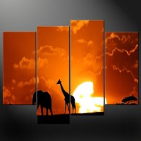 AFRICAN SUNSET SPLIT CANVAS WALL ART PICTURES PRINTS ...