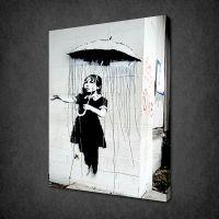 BANKSY UMBRELLA GIRL CANVAS WALL ART PICTURES PRINTS ...