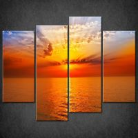 ORANGE RED SUNSET SEASCAPE CASCADE CANVAS PRINT PICTURE ...