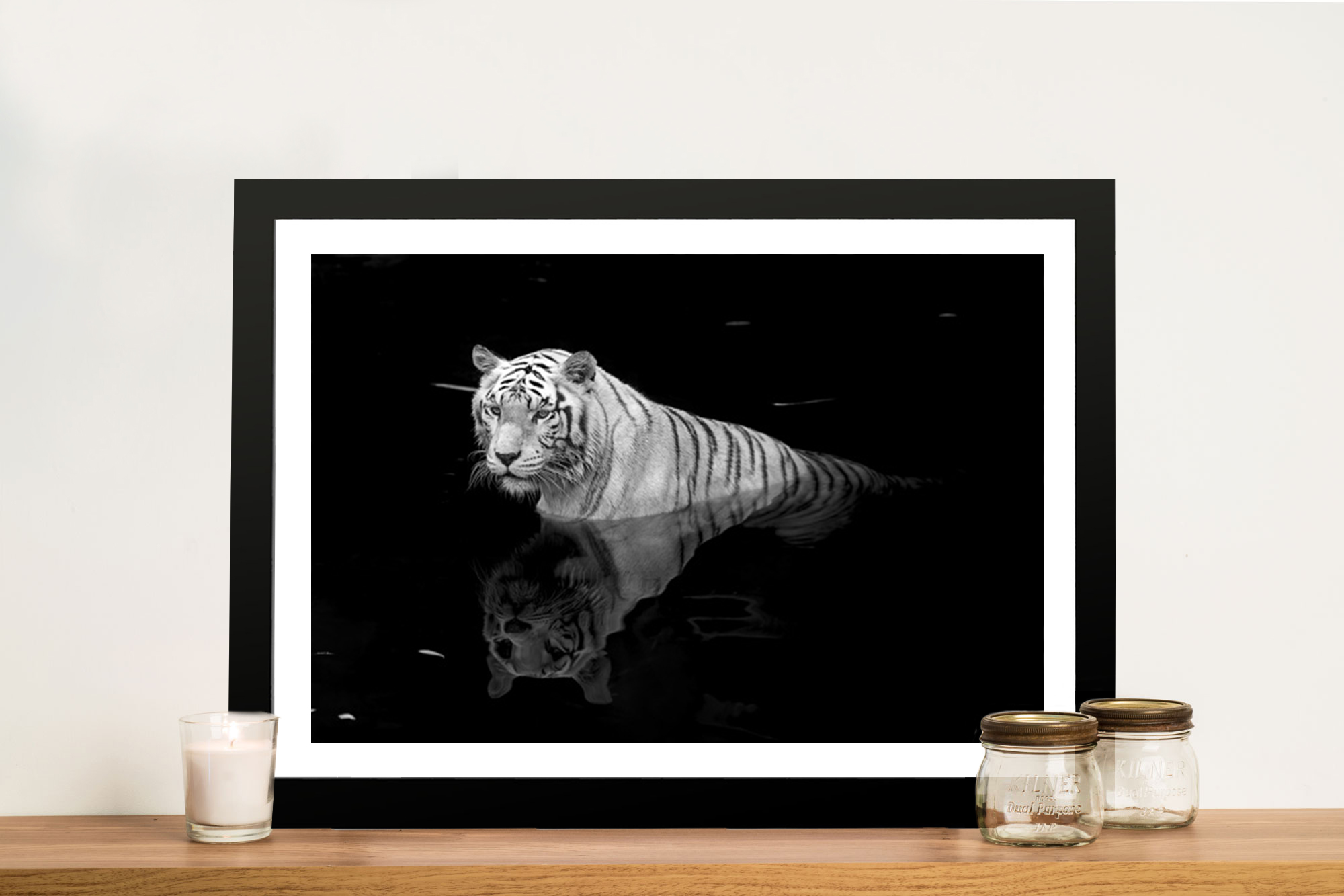 White Tiger In Water Black And White Canvas Wall Art Print