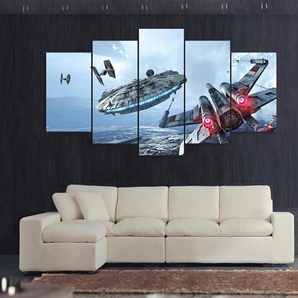 Catch Millennium Falcon Star Wars 5 Panel Canvas Art