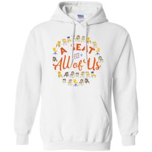 A Seat For All Of Us Classic Fit Hoodie Sweatshirt in White from AllGo's merch store featuring plus size statement apparel and more