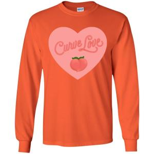 Curve Love Classic Fit Long Sleeve Cotton T-Shirt in Orange from AllGo's merch store featuring plus size statement apparel and more