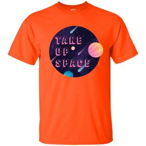 Take Up Space Classic Fit Cotton T-Shirt in Orange from AllGo's merch store featuring plus size statement apparel and more