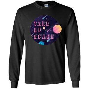 Take Up Space Classic Fit Long Sleeve Cotton T-Shirt in Black from AllGo's merch store featuring plus size statement apparel and more