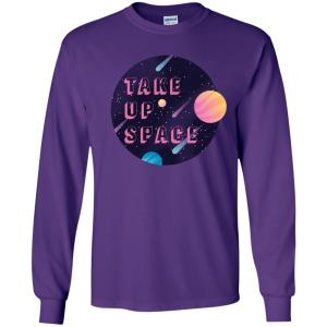 Take Up Space Classic Fit Long Sleeve Cotton T-Shirt in Purple from AllGo's merch store featuring plus size statement apparel and more