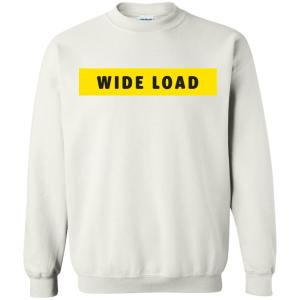 W I D E L O A D Classic Fit Crewneck Sweatshirt in White from AllGo's merch store featuring plus size statement apparel and more