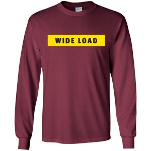 W I D E L O A D Classic Fit Long Sleeve Cotton T-Shirt in Maroon from AllGo's merch store featuring plus size statement apparel and more