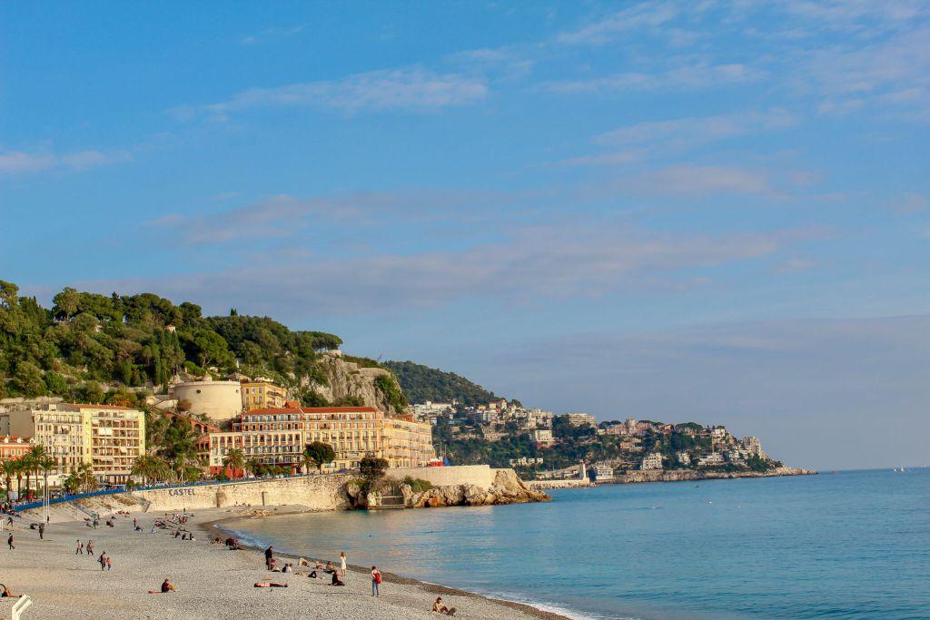 Beach in Nice, France on the Mediterranean Sea