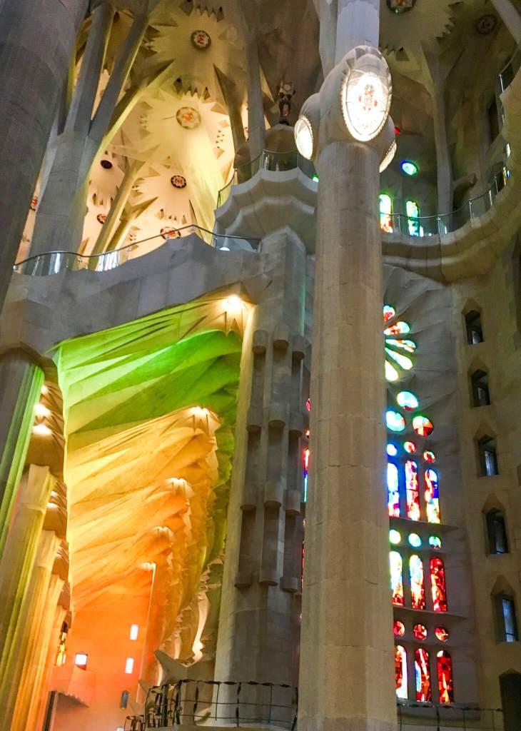 Sagrada Familia Light Streaming Through Stained Glass Window
