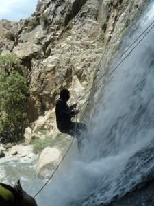 Fin d'un rappel durant le canyon Setti Fatma.