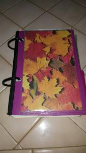 Purple Flex Binder with Leaf background
