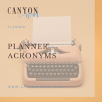 Planner Acronyms typewriter square graphic