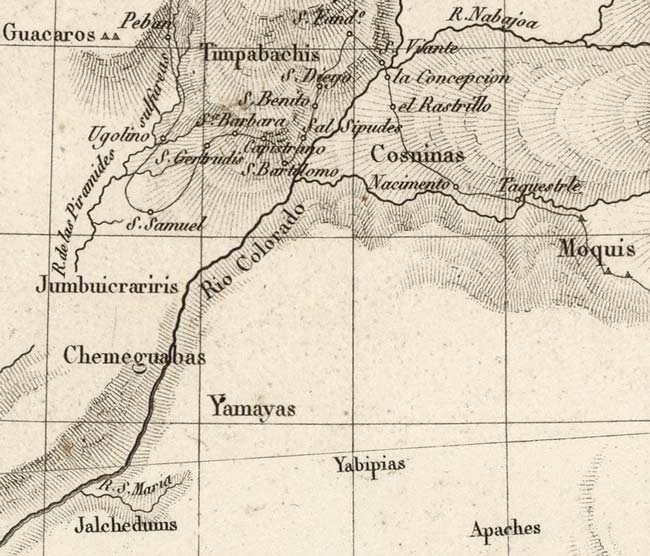 Detail of Grand Canyon region in map by French Cartographer Pierre Antoine Tardieu