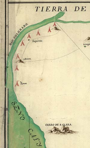 Detail of the map that predates the Escalante expedition, and which the expedition is thought to have taken with them.