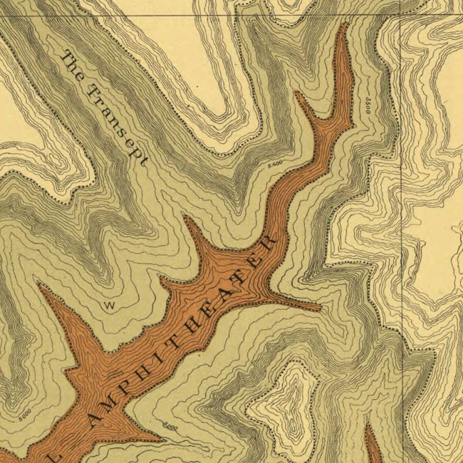 Detail from Clarence Dutton map showing isocontours.