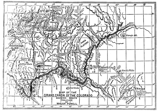 Map drawn by John Wesley Powell for Scribner's Monthly magazine
