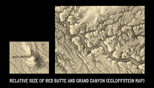Illustration showing the relative sizes of Red Butte and Grand Canyon on Egloffstein's map.