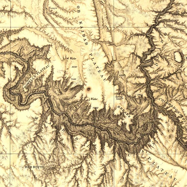 Detail of South Rim and Marble Canyon from 1873 Wheeler Map