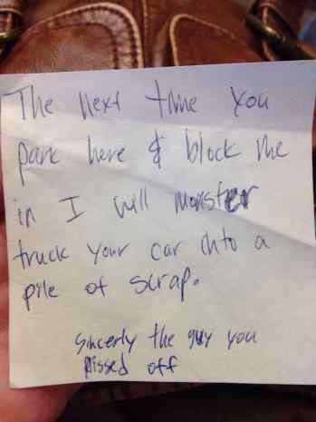Image result for parking notes aggressive