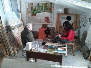El pintor durante la entrevista