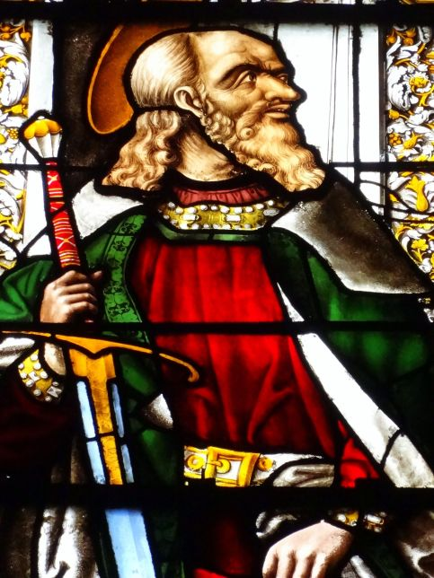 San Pablo. Detalle de la vidriera de la Capilla de la Piedad