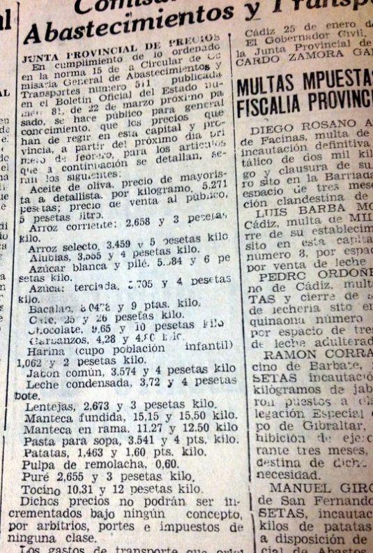 Recorte de prensa de Diario de Cádiz con la lista de precios de los alimentos básicos.