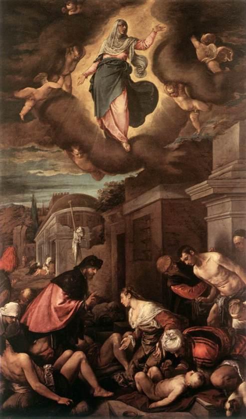 'San Roque entre las víctimas de la peste y la Virgen en la Gloria' de Jacopo Bassano.