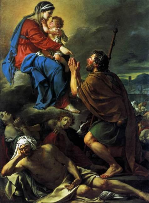 San Roque intercediendo ante la Virgen por la curación de los apestados