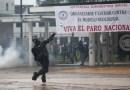Represión policial durante la jornada de paro nacional en Colombia