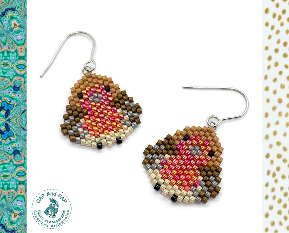 Boucles d'oreilles Rouges-Gorges en perles tissées