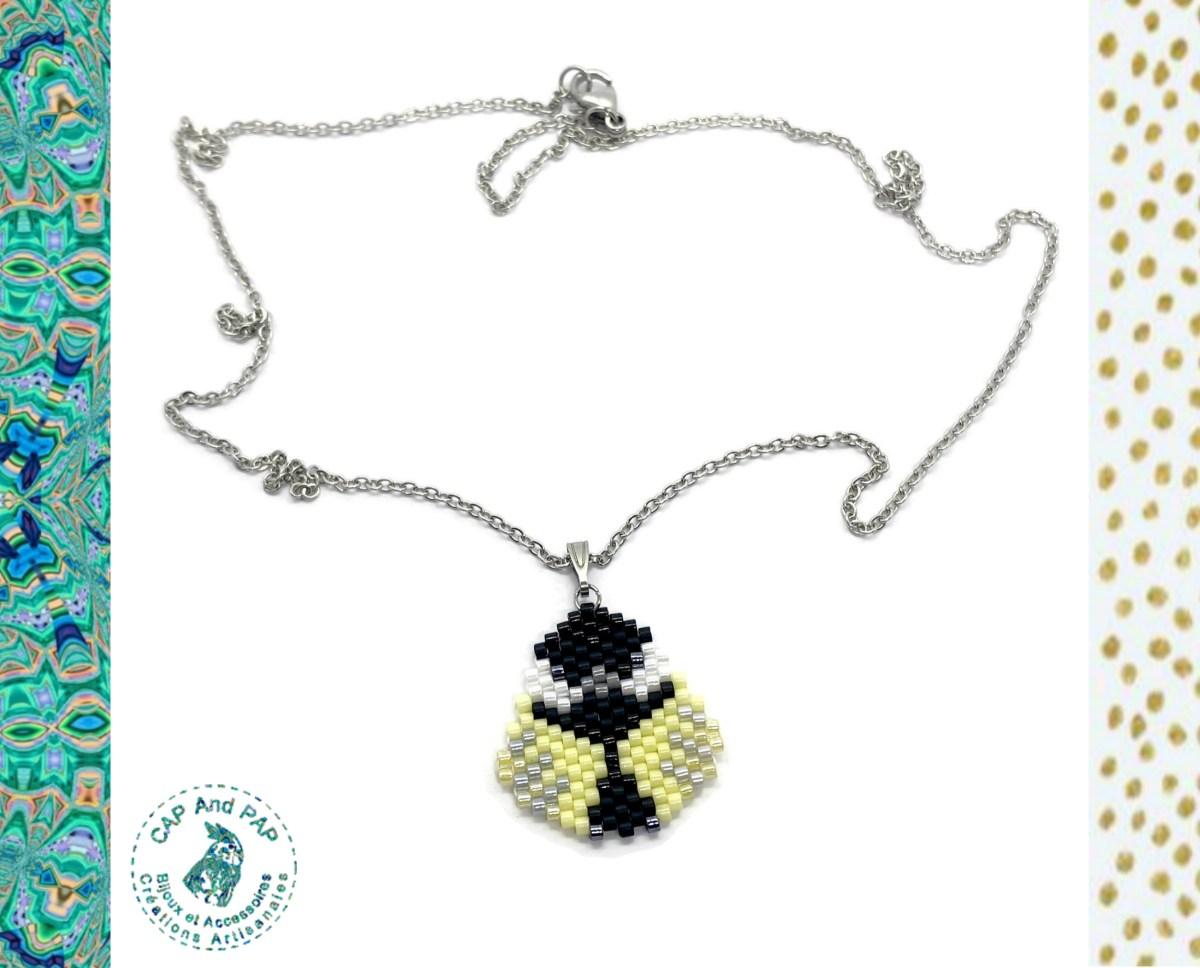 Pendentif Mésange Charbonnière en perles tissées