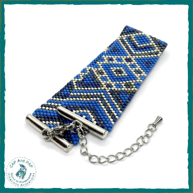 Bracelet manchette bleu et argent - Graphique