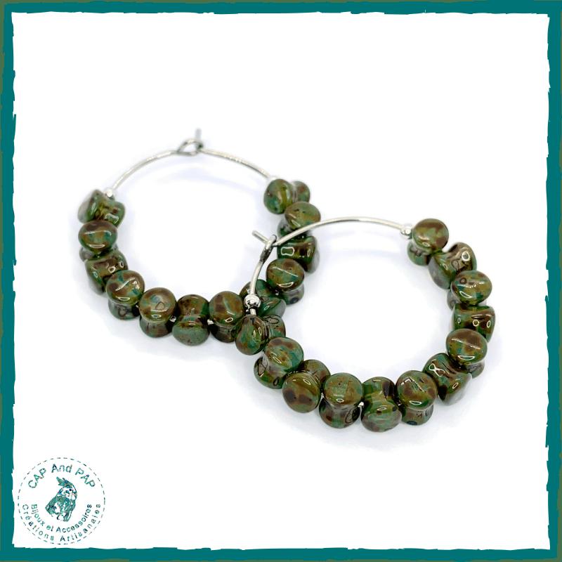 Petites créoles vertes - Perles tabourets en verre